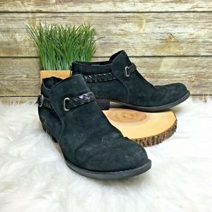 Born Sylvia Black Suede Leather Ankle Booties